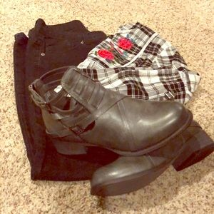 Gray Buckle Ankle Boots